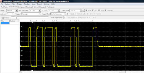 Typical ProfiCaptain scanning message waveform as corrupted by reflection